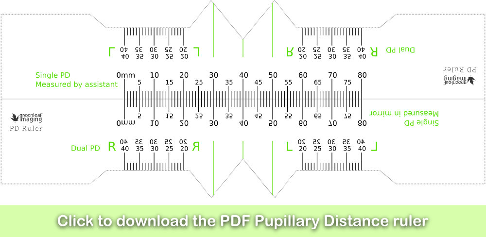 Click here to download the PDF Pupillary Distance ruler